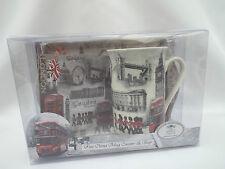 LONDON Scene Mug Coaster Tray Gift Set Big Ben/London Bus etc Design
