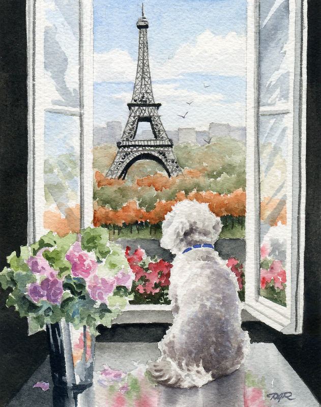 BICHON FRISE IN PARIS Dog LARGE 11 x 14 Art Print by Artist DJR