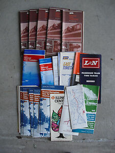 Lot-of-1970s-Amtrak-and-Other-National-Train-Timetables-LOOK