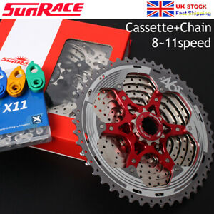 SUNRACE-8-9-10-11Speed-Aluminum-MTB-Bike-Cassette-KMC-Chain-Chains-Sprocket