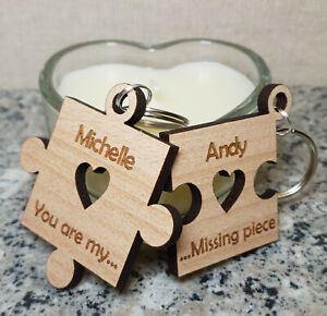 PERSONALISED-CHRISTMAS-GIFTS-KEYRING-PUZZLE-HIS-amp-HERS-COUPLES-ANNIVERSARY