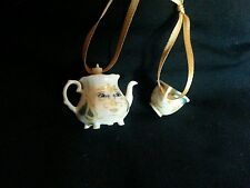 Disney Beauty and the Beast Christmas Ornament Gold Mrs Potts and Chip tea cup