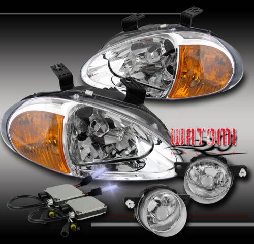 93 94 95 HONDA DEL SOL CRYSTAL CHROME HEAD LIGHT+AMBER CORNER+BUMPER+FOG+10K HID