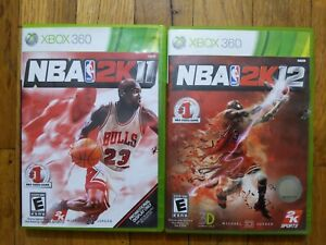 USED - NBA 2K11 + 2K12 - Microsoft Xbox 360 - Lot of 2 Bundle - Free Shipping