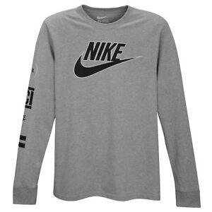 e9658f59b Nike Graphic Logo Long Sleeve T-Shirt Dark Grey Heather Men's Large ...