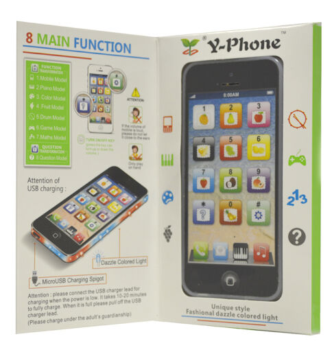 Y-Phone Toy Phone Kids New Educational English Learning Mobile Black