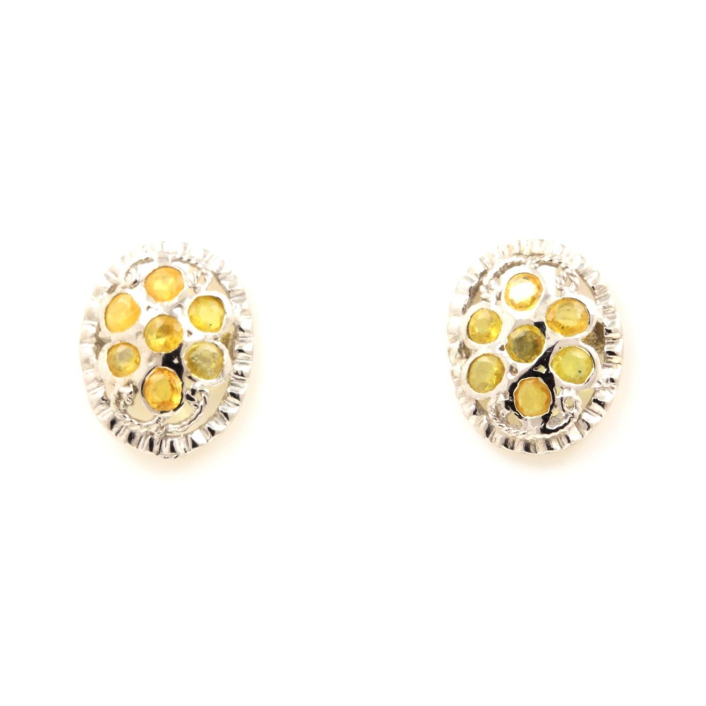 BOUCLES D'OREILLE SAPHIR yellow  silver 925
