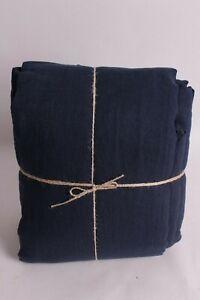 New-Pottery-Barn-Belgian-Flax-Linen-queen-sheet-set-midnight-navy-blue