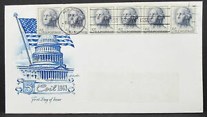 US-Artmaster-Cachet-Cover-FDC-Ny-Stripe-of-6-Stamps-USA-First-Day-Cover-H-7281
