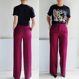 ZARA-purple-WIDE-LEG-LONG-TROUSERS-WOOL-HIGH-WAIST-PANTS-PALAZZO-SIZE-S-36-38