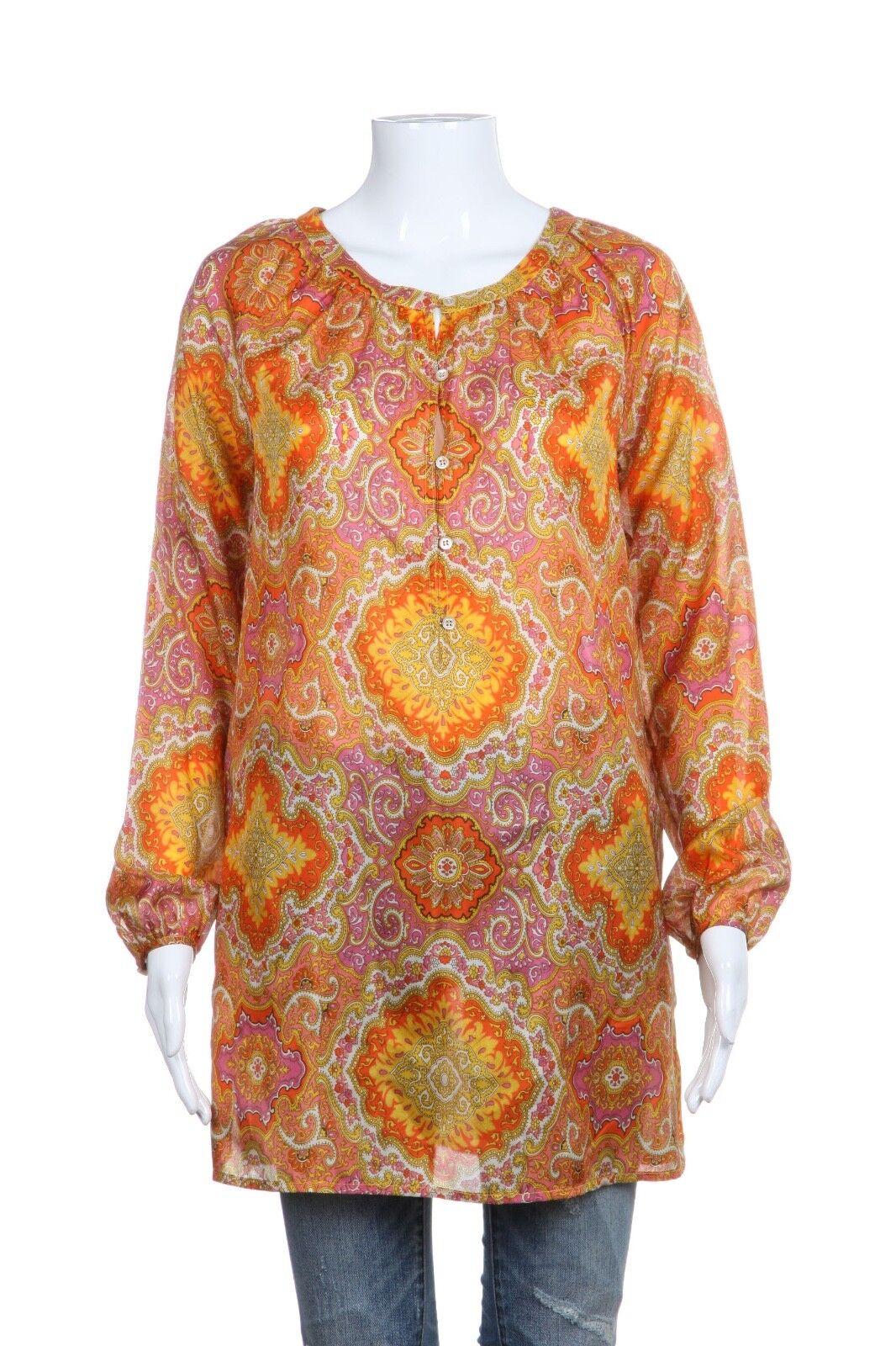 J.CREW Blouse XS 100% Silk Paisley Print Long Sleeve Top Yellow Pink orange