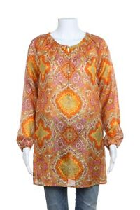 J-CREW-Blouse-XS-100-Silk-Paisley-Print-Long-Sleeve-Top-Yellow-Pink-Orange