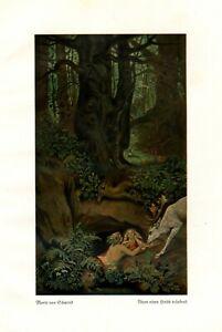 NIXEN e cervo bianco stampa d'arte 1923 di Moritz di Schwind fonte ninfe