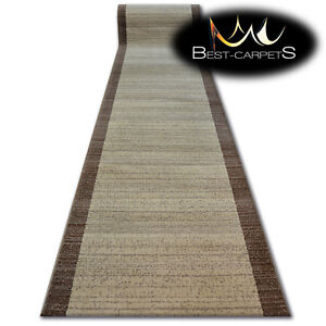 Modern Hall Carpet Runner Bcf Base Beige Stripes Stairs 60