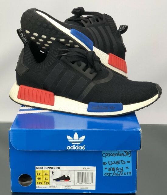 "reputable site d03ed e0336 Adidas Originals NMD_R1 PK ""OG"" S79168 Black/Red/Blue Boost Primeknit,  PreOwned!"