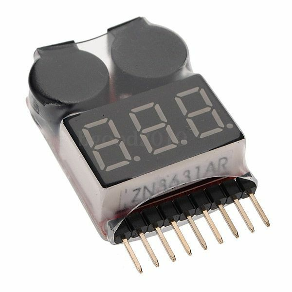 RC Lipo Battery Low Voltage Alarm 1S-8S Buzzer Indicator Checker Tester LED