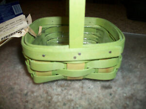 Longaberger-2014-small-Green-Jelly-Bean-Easter-Basket-with-protector-NEW