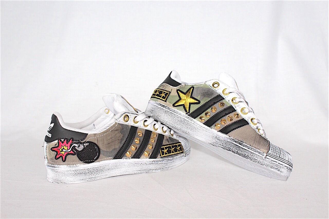 Schuhe adidas superstar superstar superstar con tessuto militare e peach piu' sporcatura e borchie 18bda1