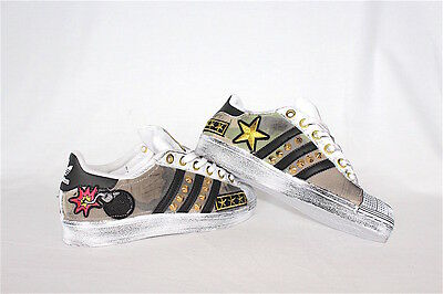 Shoes Adidas Superstar with Stars Velour Black & Sporcatura Gold More' Skull | eBay