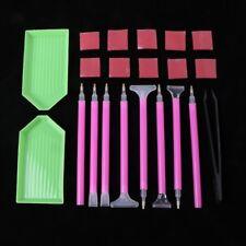 21Pcs Diamond Painting Cross Stitch Tool Kit Tray Sticky Pen Tweezers DIY Craft