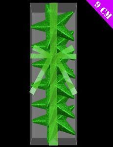 Pack-Of-6-9cm-3D-GREEN-Glitter-Stars-Christmas-Tree-Decorations-DP117