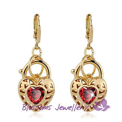 18K GOLD GF Lab RUBY CRYSTAL Love HEART PADLOCK Dangling EARRINGS ES614R RED