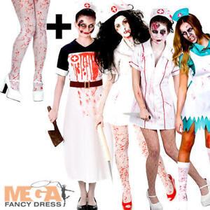 3cb9369109 Undead Zombie Nurse + Tights Ladies Halloween Fancy Dress Womens ...