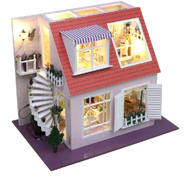 Wooden Dollhouse Miniatures DIY House Kit w Led Light Beach House Vacation house