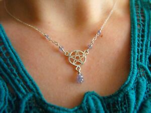 925-STERLING-SILVER-teardrop-NECKLACE-TANZANITE-gemstone-PENTACLE