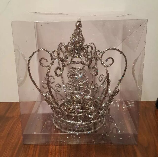 Crown Tree Topper Christmas Silver Glittered Metal Crown ...