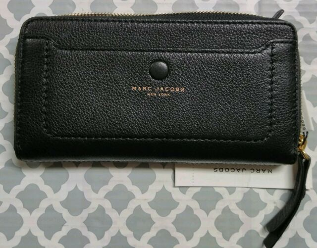 f85b742580 NEW Black MARC JACOBS Leather Large EMPIRE CITY Zip Around Pocket WALLET