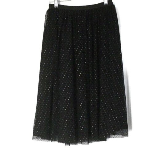 Zara Womens Size XS Tulle Skirt Black With Gold Me