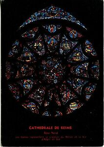 Alte-Postkarte-Cathedrale-de-Reims-Rose-Nord