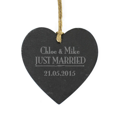 Just Married Couples Slate Heart Decoration Wedding Personalised Gifts