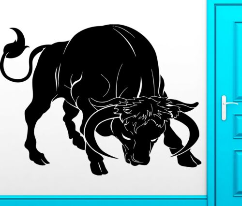 Details about  /Wall Sticker Vinyl Decal Bull With Horns Aggrssive Animal Corrida Decor z2458