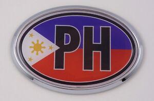 Philippine Ph Car Chrome Emblem Bumper Sticker Flag Decal Oval
