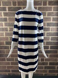 NWT-Women-s-Lauren-Ralph-Lauren-Striped-Boatneck-Dress-Blue-White-Size-L
