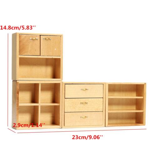 Mini DIY 1:12 Dollhouse Wood Furniture Cabinet Cupboard Wooden Kitchen Closet