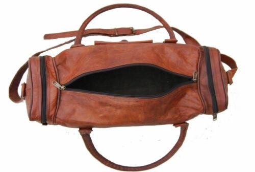 New Men/'s genuine Leather large vintage travel gym weekend overnight duffel bag