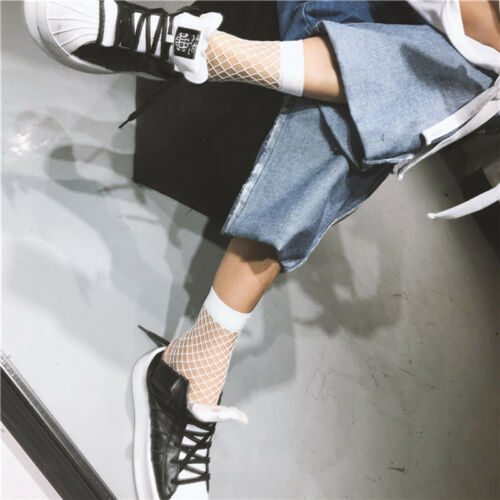 Frauen weiß Fischnetz Knöchel hohe Socken Lady MeshLace Fish net Short Socken CJ