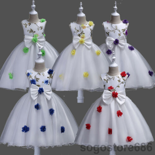 Bowknot Flower Girls Kids Tute Dress Formal Party Wedding Dress Gown Xmas Gift