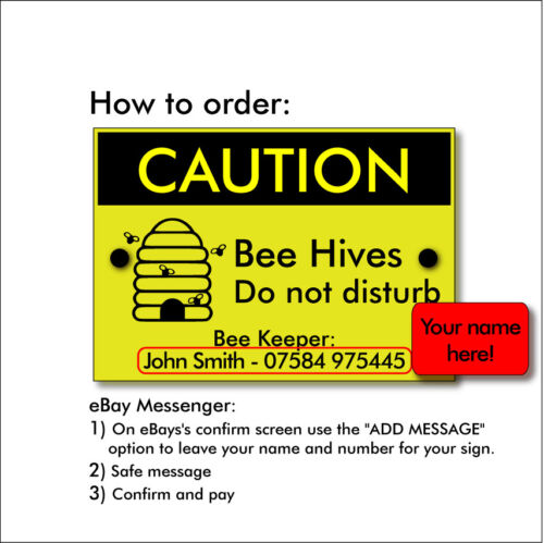 your name /& phone number Personalised BEE KEEPING Sign /'Caution Bee Hives /'