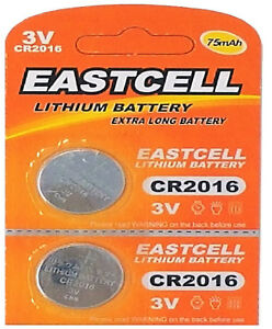 2-x-CR2016-3V-Lithium-Knopfzelle-75-mAh-1-Blistercard-a-2-Batterien-EASTCELL