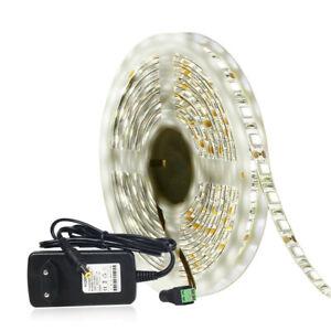 White-LED-Strip-Light-5050-60led-m-5M-DC12V-5050-Day-Light-12V-Power-Suppply-Kit