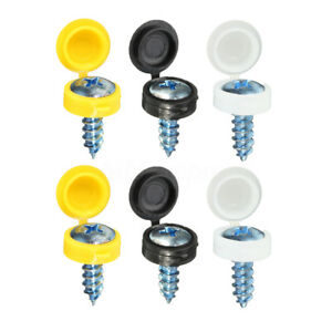 12Pcs-Number-Plate-Screw-Caps-Covers-Black-White-Yellow-Set-License-Reg