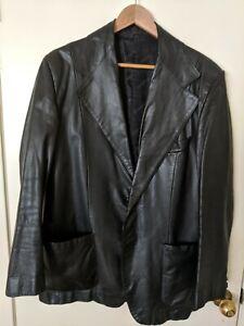 Vintage About Details Jacket Black 44r Leather Ysl Yves Size Laurent Saint Mens DW2IEH9