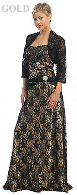 MOTHER OF THE BRIDE GROOM DRESS LACE EVENING FORMAL GOWN JACKET LONG + PLUS SIZE