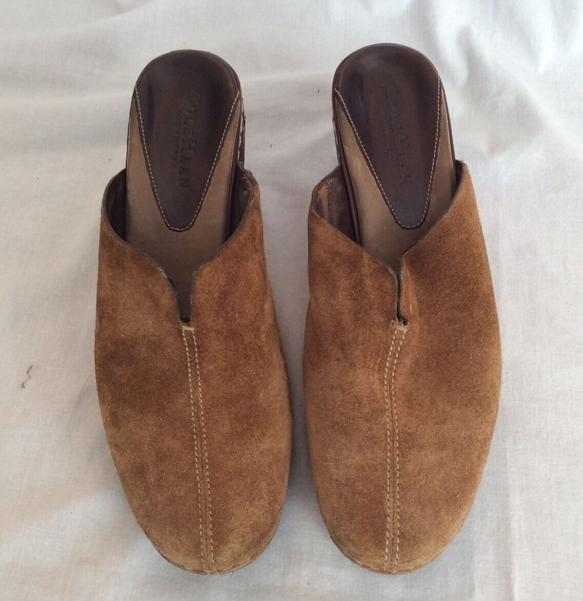 COLE HAAN Womens Country Suede Brown Leather Heel Clogs Mules Slip On Size 6.5B