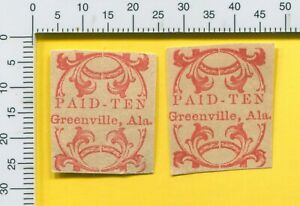 LAST 2 AL Greenville Paid 10c Alabama Confederate Forgery Stamp s