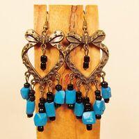 2 1/2 Blue Wood Bead Metal Heart Shaped Handmade Chandelier Seed Bead Earring